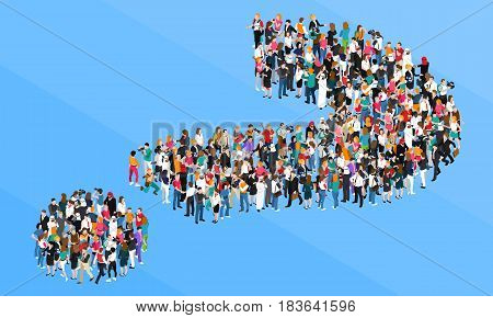 Organized crowd standing in form of question mark isometric design concept on blue background vector illustration