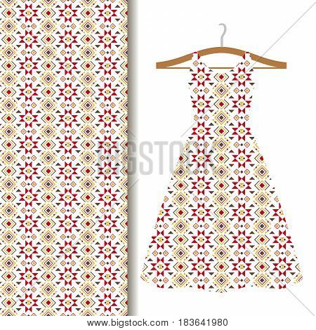 Women dress fabric pattern design on a hanger with red geometric mosaic. Vector illustration