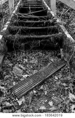 Creepy and broken stairs in black and white