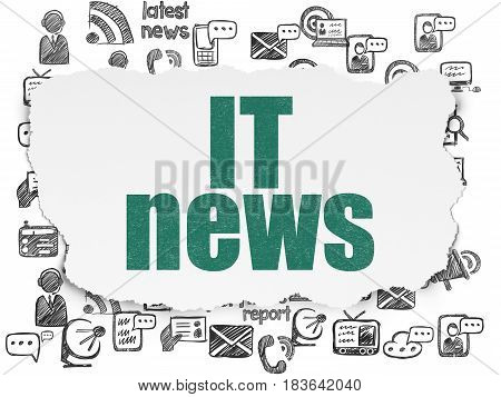 News concept: Painted green text IT News on Torn Paper background with  Hand Drawn News Icons