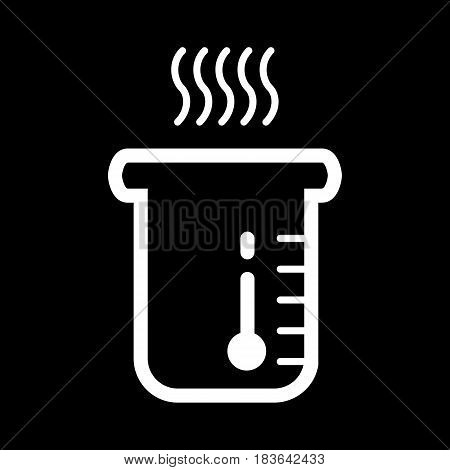 boiling water icon vector. Glass with hot water. On black background. Eps 10
