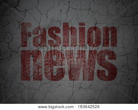 News concept: Red Fashion News on grunge textured concrete wall background