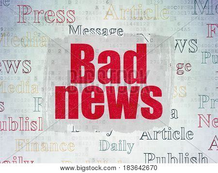 News concept: Painted red text Bad News on Digital Data Paper background with   Tag Cloud