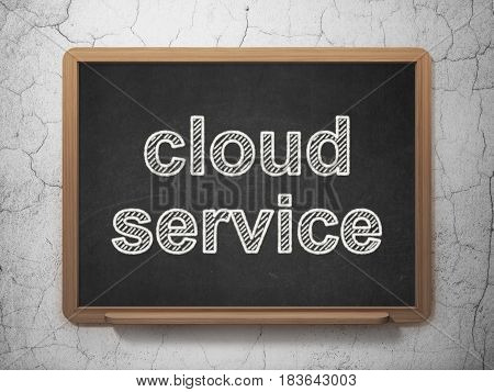 Cloud computing concept: text Cloud Service on Black chalkboard on grunge wall background, 3D rendering