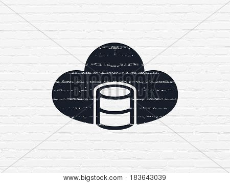 Cloud computing concept: Painted black Database With Cloud icon on White Brick wall background