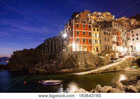 travel amazing Italy series - Riomaggiore Village at night, Cinque Terre national park, Liguaria