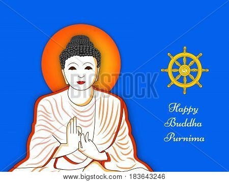 Illustration of Lord Buddha and buddhism symbol with Happy Buddha Purnima text