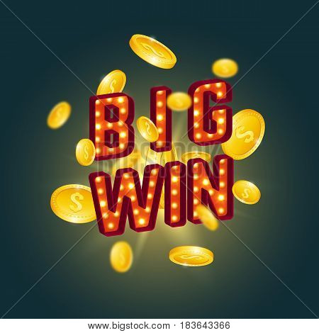 3D big win retro text with glowing lamps and golden coins. Vector illustration.