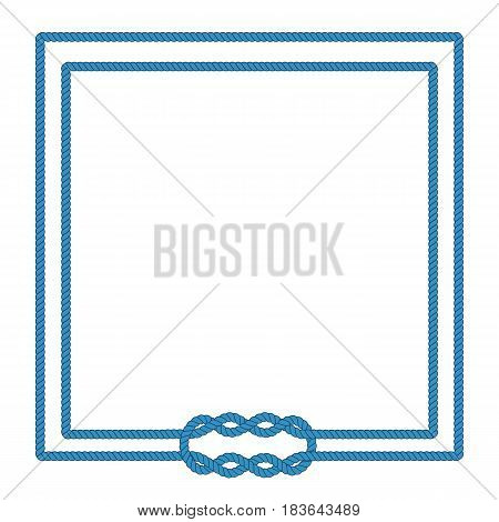 Sailor rope knot picture frame. Blank poster template with nautical border. Graphic design element. Wedding invitation, baby shower, birthday card, scrapbooking. Isolated vector illustration