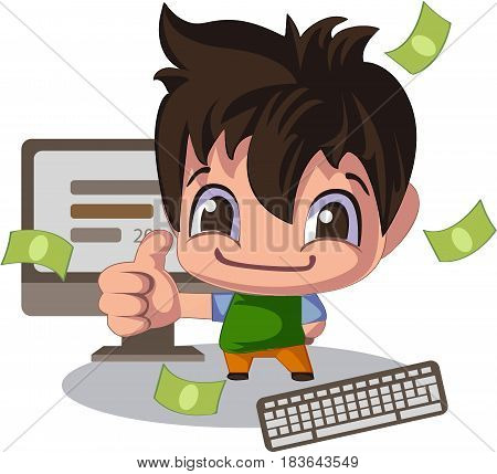 Man in a cartoon style, thumb up. Sales manager or illustration of young programmer coding a new project using computer