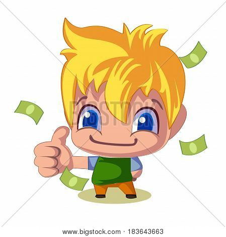 successful businessman thumb up money bills pile, vector illustration. Young man, blond with blue eyes