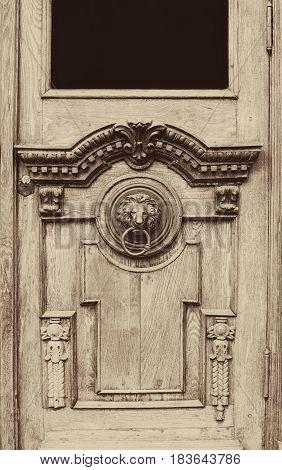 An Ancient Door Handle With Metal Lion Head In Tbilisi, Georgia