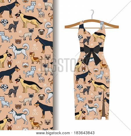 Women dress fabric pattern design on a hanger with dogs and cats. Vector illustration