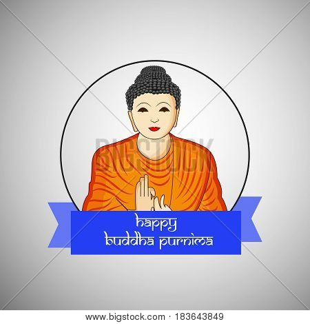 Illustration of Lord Buddha with Happy Buddha Purnima text