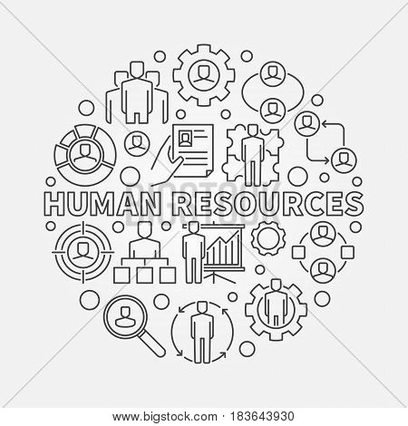 HR outline illustration. Vector round recruitment sign made with phrase HUMAN RESOURCES and thin line icons