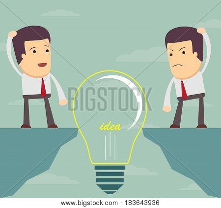 Businessman Look at a bulb and do not know what to do . a man want to cross an abyss. Vector illustration Eps10 file. Global colors.