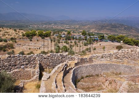 Panorama of ancient Mycenae. Ancient Troy. A historical place. The ancient civilization.