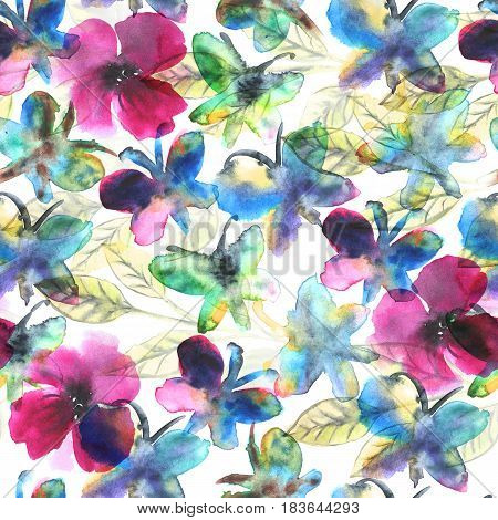 Watercolor butterflies in flowers Abstract seamless pattern For textile wallpaper wrapping web backgrounds and other pattern fills