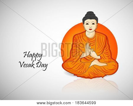 Illustration of Lord Buddha with Happy vesak day text
