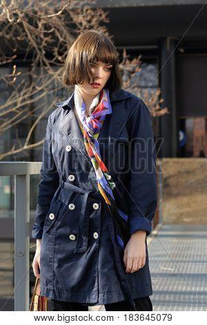 Вeautiful Girl Is Walking In The Park