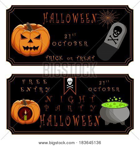 Abstract vector illustration of logo for celebrating children's holiday halloween yellow pumpkin close-up background.