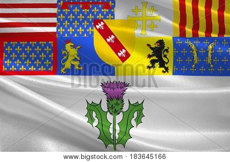 Flag of Nancy is the capital of the north-eastern French department of Meurthe-et-Moselle. 3d illustration