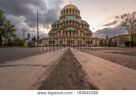 Alexander Nevsky Cathedral in Sofia Bulgaria at sunset