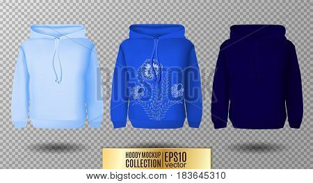 Hoody set. Realistic mockup. Long sleeve hoody template on transparent background. Light, normal and dark blue version.