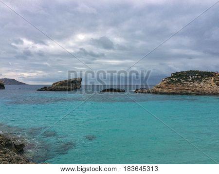 Blue lagoon beutiful water Comino island Malta Gozo