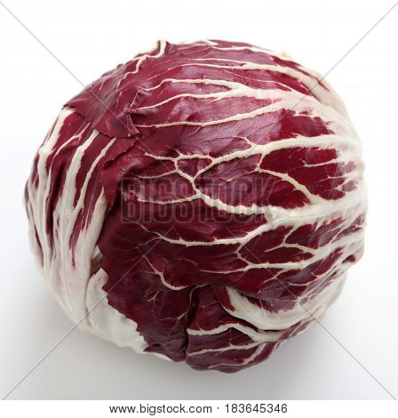 Radicchio red salad on white background. Healthy food.
