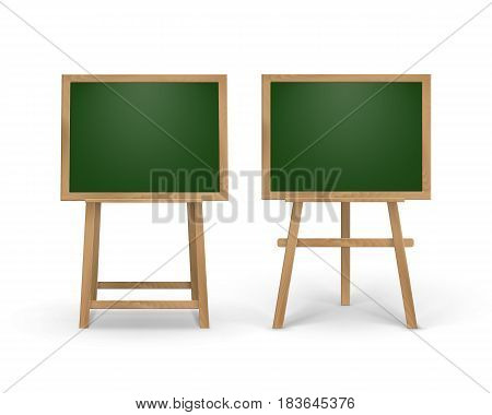 Vector Set of Wooden Easels with Mock Up Empty Blank Square School Boards Isolated on Background