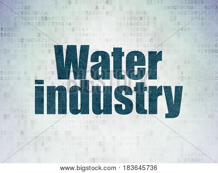 Industry concept: Painted blue word Water Industry on Digital Data Paper background