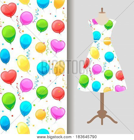 Women dress fabric pattern design with party baloons. Vector illustration