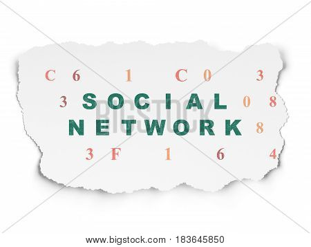 Social media concept: Painted green text Social Network on Torn Paper background with  Hexadecimal Code
