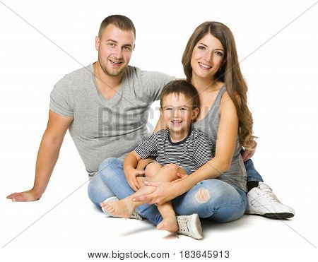 Family over White Background Three People Happy Parents with Child Father Mother and Son Isolated