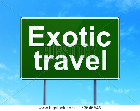Vacation concept: Exotic Travel on green road highway sign, clear blue sky background, 3D rendering