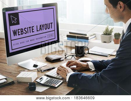 Man researching about web development