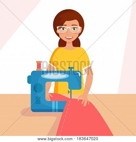 Woman seamstress work on sewing machine. Isolated art on white background. Vector. Cartoon. Flat.