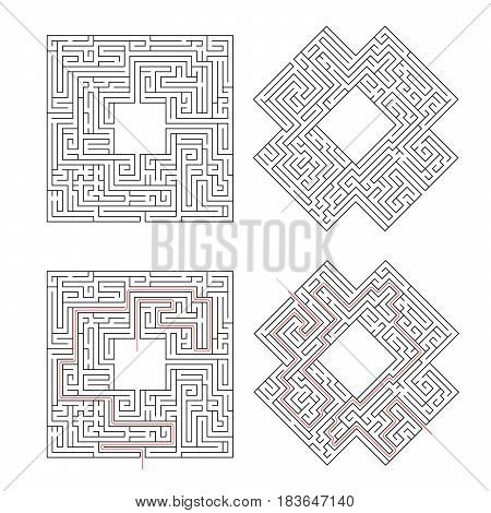 Two complicated labyrinths with red path of solution isolated on white