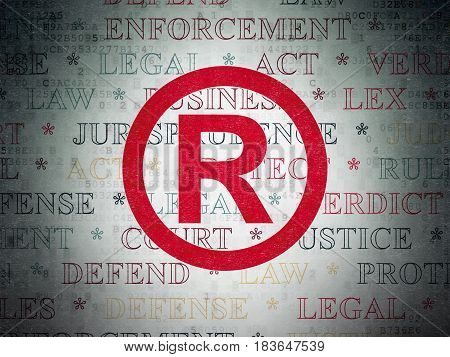 Law concept: Painted red Registered icon on Digital Data Paper background with  Tag Cloud