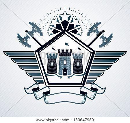 Vector emblem vintage heraldic design composed using hatchets and medieval castle