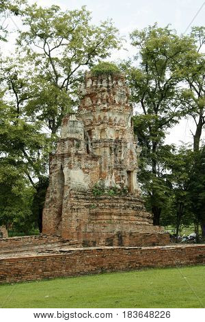 Old ruined forgotten Hindu temple in Ayutthaya in Thailand