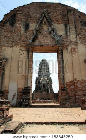 Ancient ruins of Hindu temple in Ayutthaya in Thailand