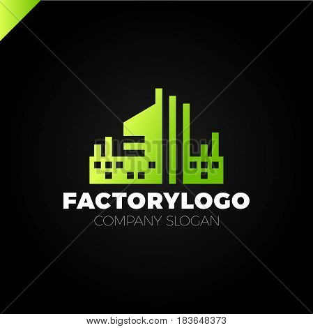 Construction Firm, Factory Or Manifacture Logo Or Apartment Building Logotype