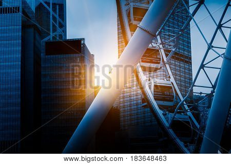 Big ferris wheel with cityscape in backgroundshot in ShanghaiChina.