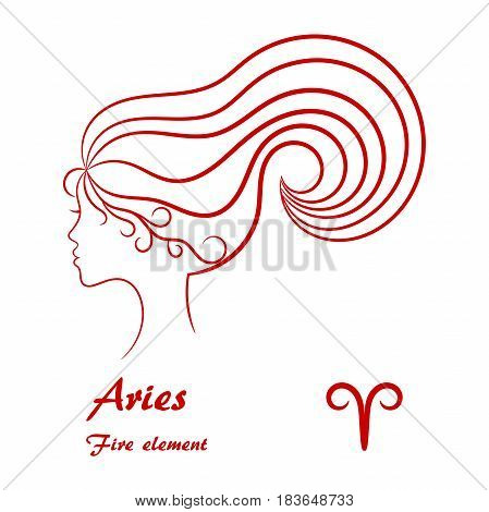 Aries zodiac sign. Stylized female contour profile.