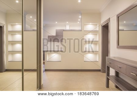 Interior of new modern corridor with a mirrors