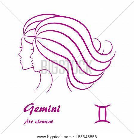 Gemini zodiac sign. Stylized female contour profile.