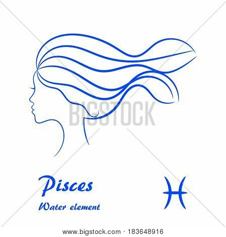Pisces zodiac sign. Stylized female contour profile.