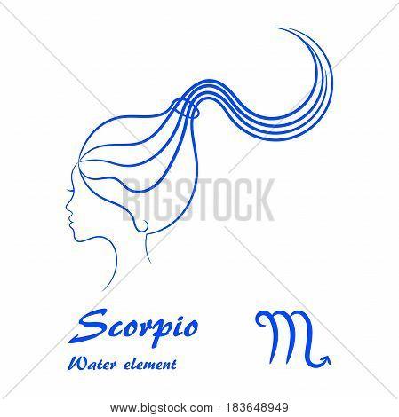 Scorpio zodiac sign. Stylized female contour profile.